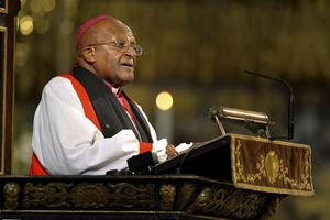 Archbishop Desmond Tutu speaks during a memorial service for former South African President Nelson Mandela at Westminster Abbey in London